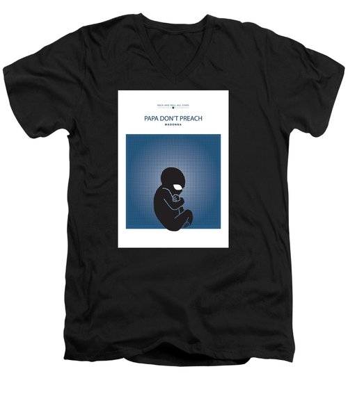 Men's V-Neck T-Shirt featuring the drawing Papa Don't Preach -- Madonna by David Davies
