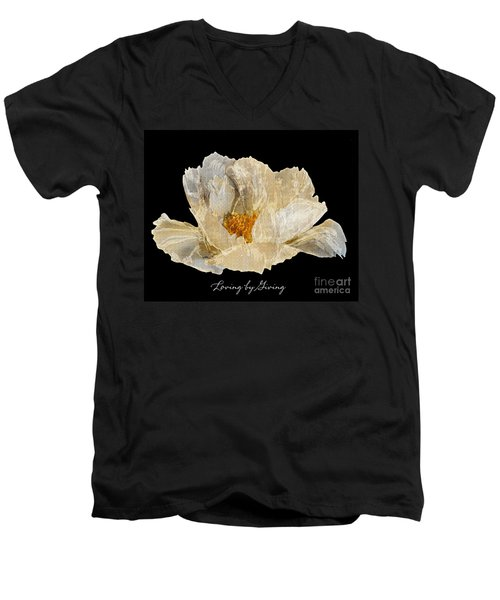 Paper Peony Loving By Giving Men's V-Neck T-Shirt by Diane E Berry