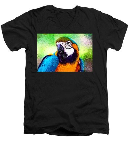 Pappagallo - Parrot Ara Ararauna Men's V-Neck T-Shirt