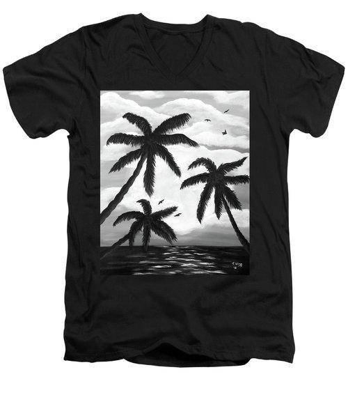 Paradise In Black And White Men's V-Neck T-Shirt