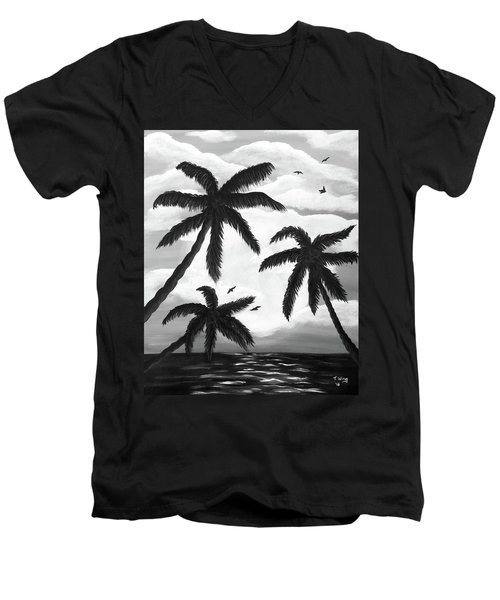 Men's V-Neck T-Shirt featuring the painting Paradise In Black And White by Teresa Wing
