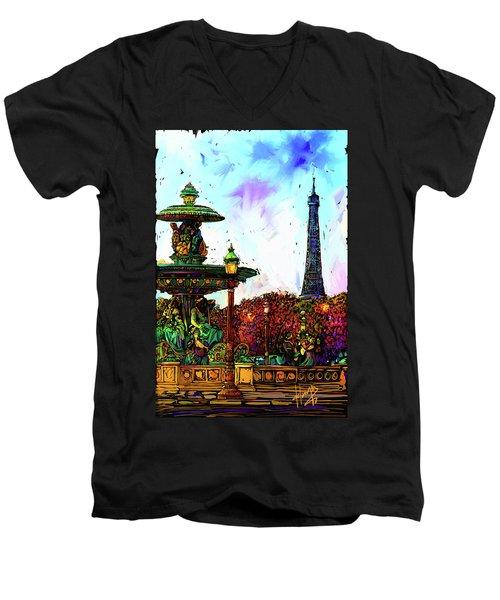 Paris Men's V-Neck T-Shirt by DC Langer
