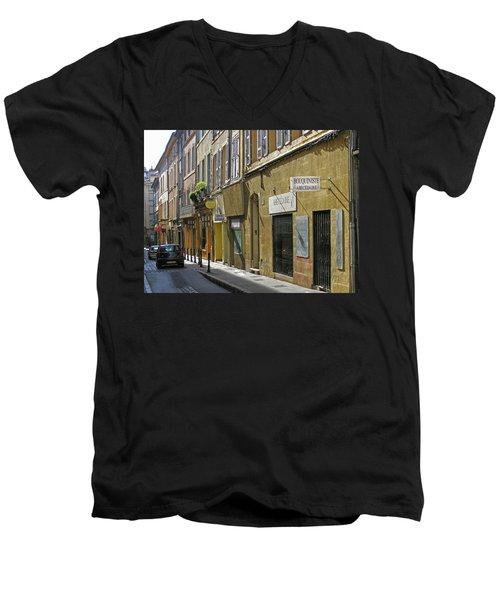 Men's V-Neck T-Shirt featuring the photograph Paris Street Scene by Jim Mathis