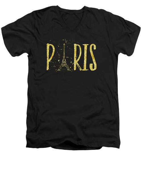 Paris Typografie - Gold Splashes Men's V-Neck T-Shirt