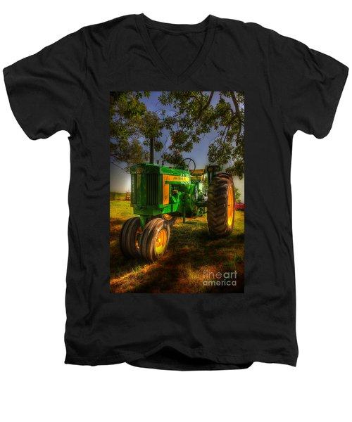 Parked John Deere Men's V-Neck T-Shirt by Michael Eingle