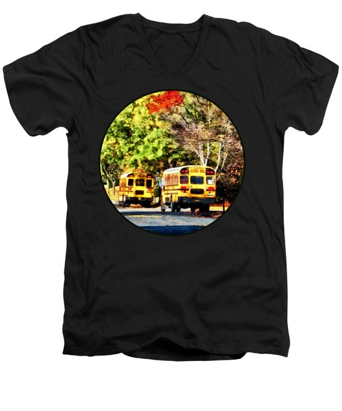 Parked School Buses Men's V-Neck T-Shirt by Susan Savad