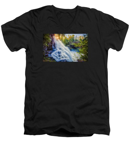 Men's V-Neck T-Shirt featuring the photograph Partridge Falls In Late Afternoon by Rikk Flohr