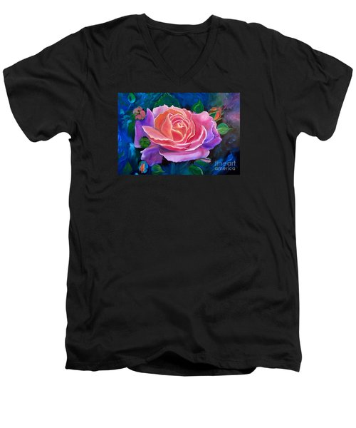 Gala Rose Men's V-Neck T-Shirt by Jenny Lee
