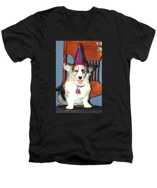 Party Time Dog Men's V-Neck T-Shirt by Cathy Donohoue