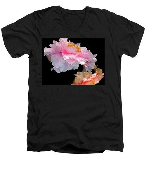 Pas De Deux Glowing Peonies Men's V-Neck T-Shirt by Lynda Lehmann