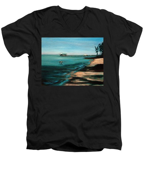 Men's V-Neck T-Shirt featuring the painting Passing By Again by Suzanne McKee