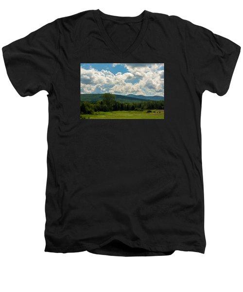 Pastoral Landscape With Mountains Men's V-Neck T-Shirt by Nancy De Flon