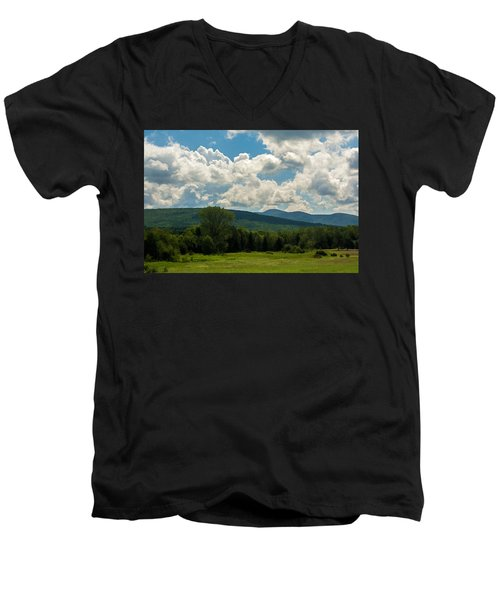 Pastoral Landscape With Mountains Men's V-Neck T-Shirt