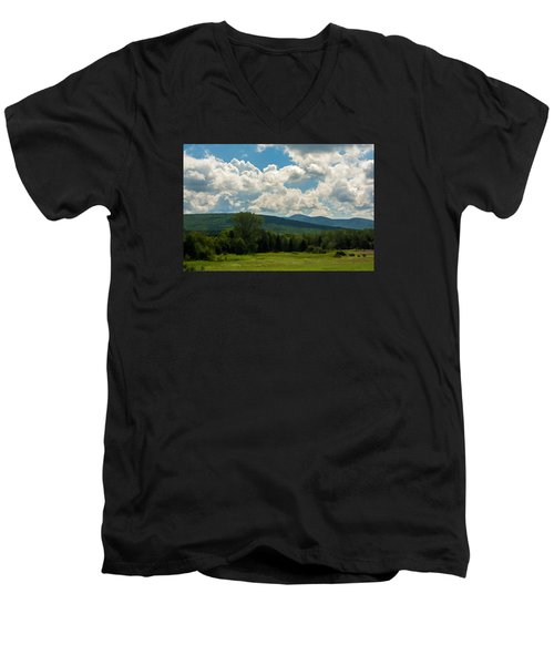 Pastoral Landscape With Mountains Men's V-Neck T-Shirt