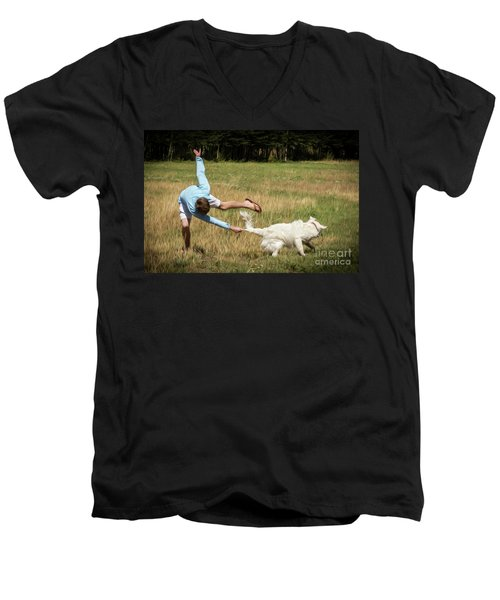 Pasture Ballet Human Interest Art By Kaylyn Franks   Men's V-Neck T-Shirt