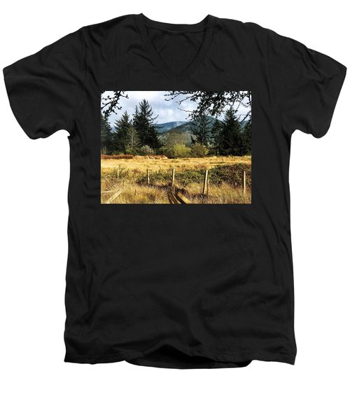 Pasture, Trees, Mountains Sky Men's V-Neck T-Shirt