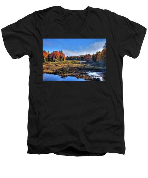 Men's V-Neck T-Shirt featuring the photograph Patches Of Fog At The Green Bridge by David Patterson