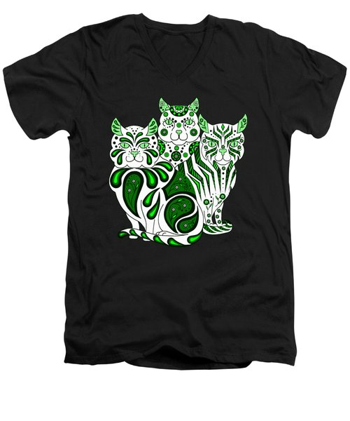 Patches, Stripes, And Bobbles In Green Men's V-Neck T-Shirt