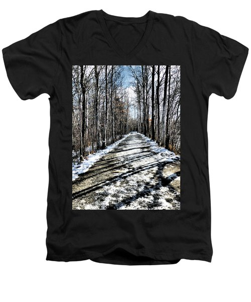 Path In Winter Men's V-Neck T-Shirt