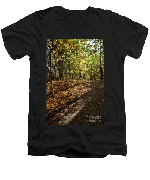 Men's V-Neck T-Shirt featuring the photograph Pathways In Fall by Iris Greenwell