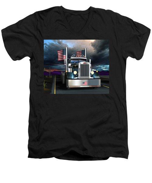 Patriotic Pete Men's V-Neck T-Shirt by Stuart Swartz