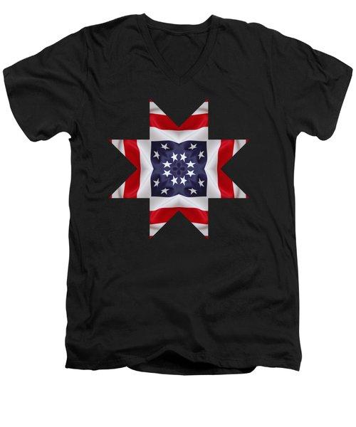 Patriotic Star 2 - Transparent Background Men's V-Neck T-Shirt by Jeff Kolker