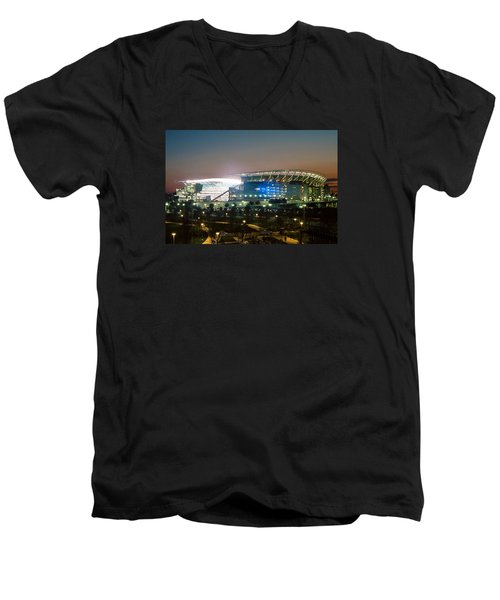 Paul Brown Stadium Men's V-Neck T-Shirt by Scott Meyer
