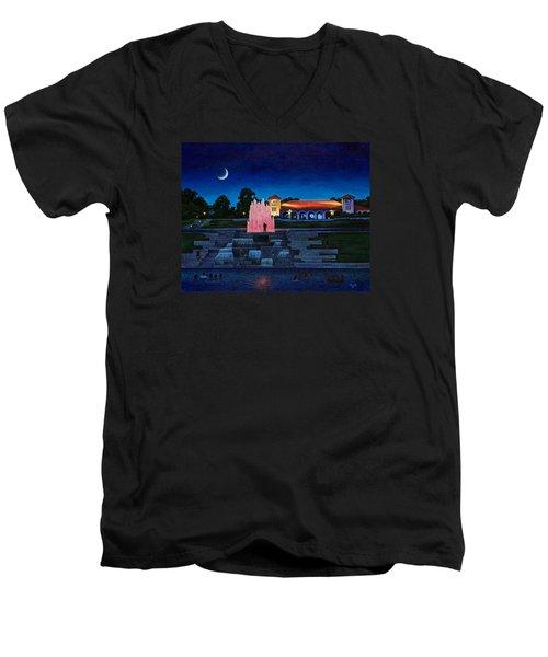 Pavilion Fountains Men's V-Neck T-Shirt by Michael Frank
