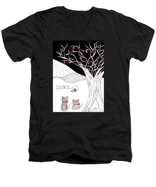 Peace Men's V-Neck T-Shirt by Lou Belcher