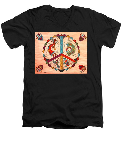 Men's V-Neck T-Shirt featuring the painting Peace Love And Harmony by Susie WEBER