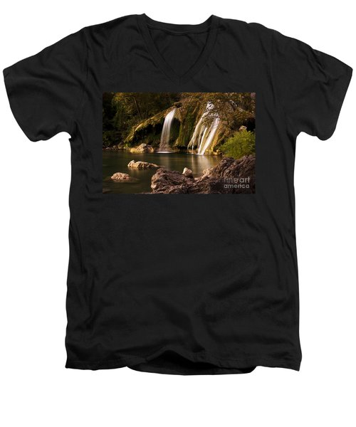 Peaceful Day At Turner Falls Men's V-Neck T-Shirt by Tamyra Ayles