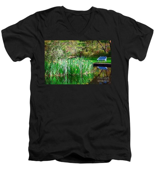 Men's V-Neck T-Shirt featuring the photograph Peaceful by Donna Bentley