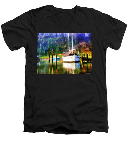 Men's V-Neck T-Shirt featuring the photograph Peaceful Morning In The Cove by Brian Wallace