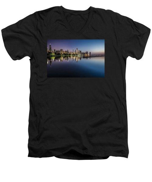 Peaceful Summer Dawn Scene On Chicago's Lakefront Men's V-Neck T-Shirt