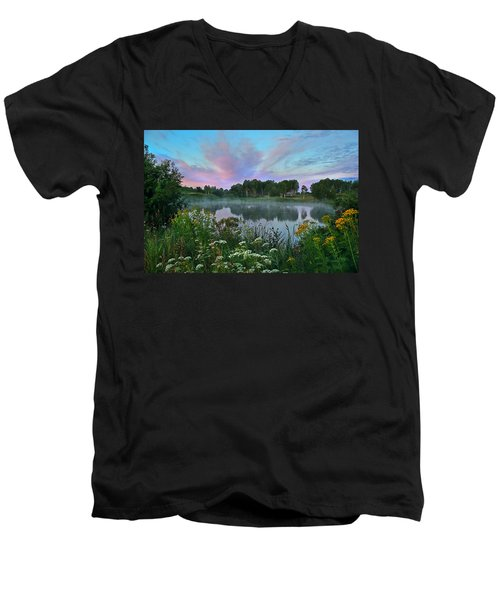 Peaceful Sunrise At Lake. Altai Men's V-Neck T-Shirt