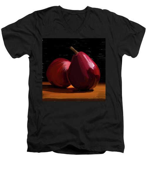 Peach And Pear 01 Men's V-Neck T-Shirt by Wally Hampton