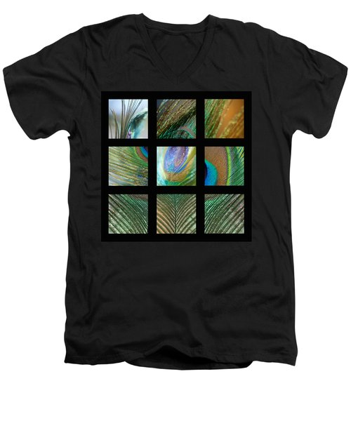 Peacock Feather Mosaic Men's V-Neck T-Shirt