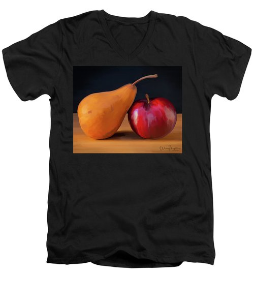 Pear And Plum 01 Men's V-Neck T-Shirt by Wally Hampton