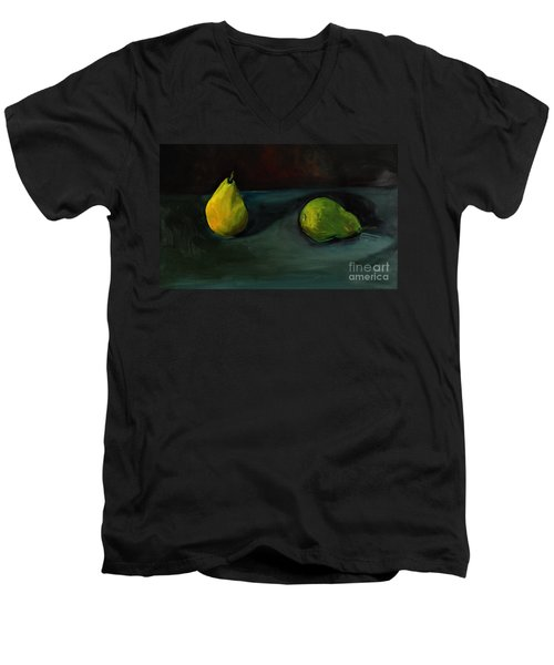 Pears Apart Men's V-Neck T-Shirt by Daun Soden-Greene