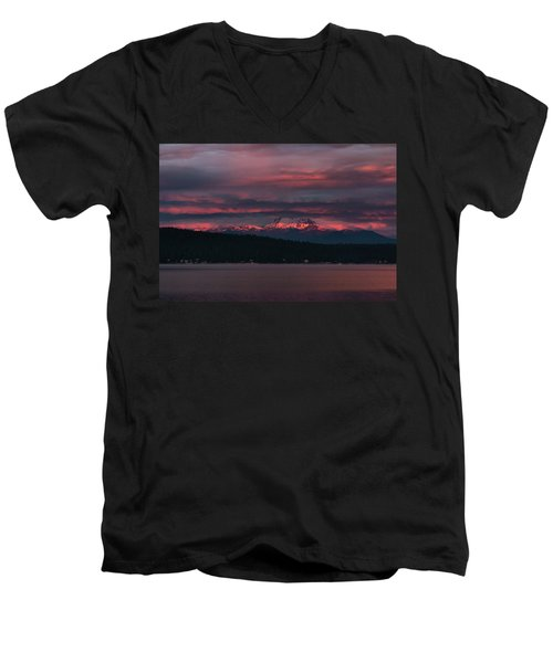 Men's V-Neck T-Shirt featuring the photograph Peekaboo Sunrise by Jan Davies