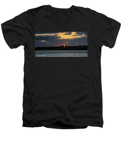 Peeking Between The Condos Men's V-Neck T-Shirt by Nance Larson