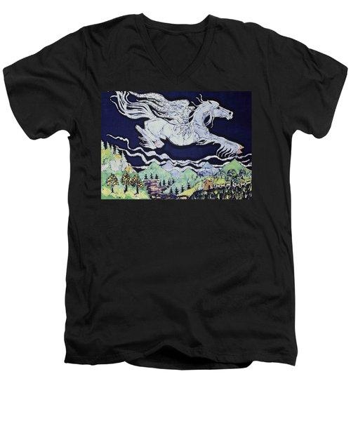Pegasus Flying Over Stream Men's V-Neck T-Shirt
