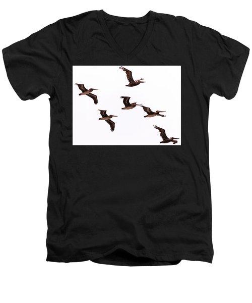Pelicans At Half Moon Bay Men's V-Neck T-Shirt by Steven Richman