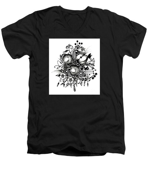 Pen And Ink Drawing Apples Black And White Art Men's V-Neck T-Shirt by Saribelle Rodriguez