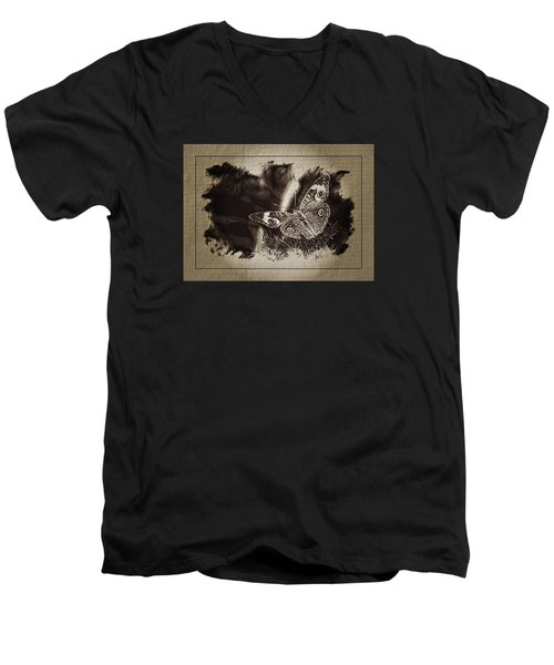 Pen And Ink Fall Butterfly Men's V-Neck T-Shirt by Karen McKenzie McAdoo