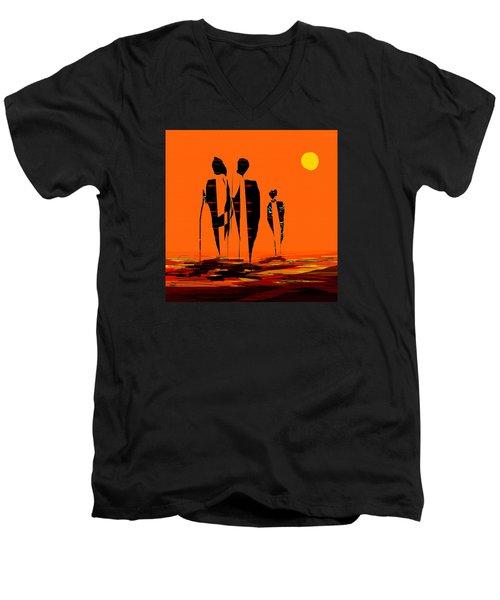 Penman Origiinal-295-long Walk Home Men's V-Neck T-Shirt by Andrew Penman