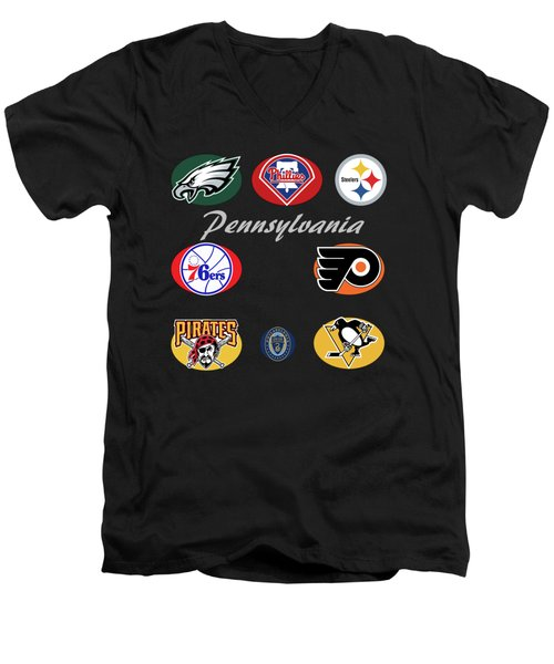 Pennsylvania Professional Sport Teams Collage  Men's V-Neck T-Shirt by Movie Poster Prints