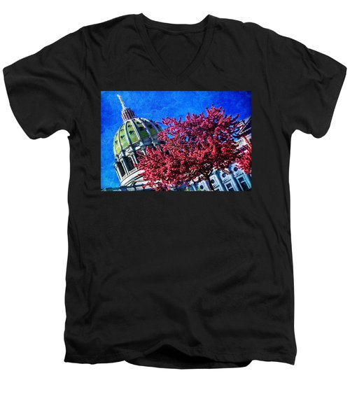 Men's V-Neck T-Shirt featuring the photograph Pennsylvania State Capitol Dome In Bloom by Shelley Neff