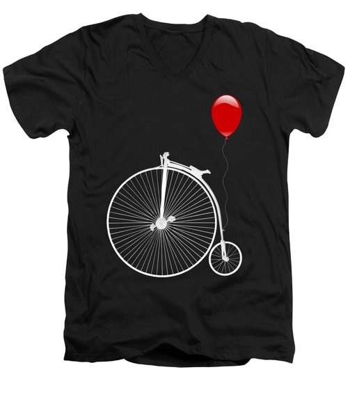 Penny Farthing With Red Balloon On Black Men's V-Neck T-Shirt
