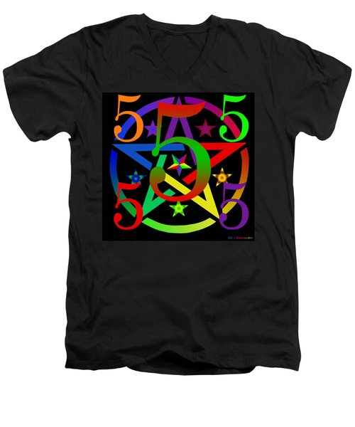 Penta Pentacle In Black Men's V-Neck T-Shirt by Eric Edelman